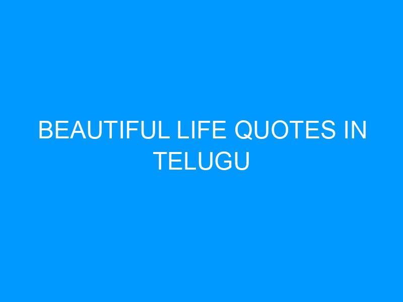 Beautiful Life Quotes In Telugu