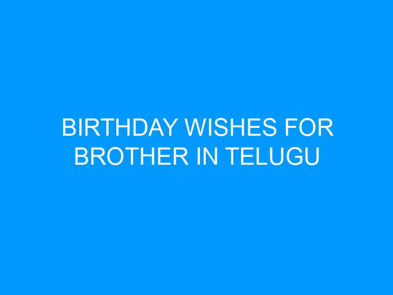 Birthday Wishes For Brother In Telugu