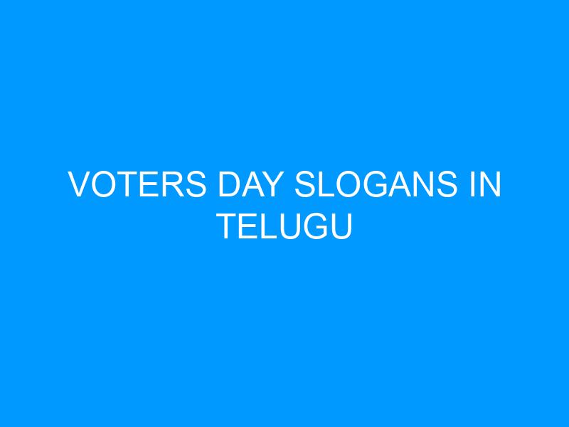 Voters Day Slogans In Telugu
